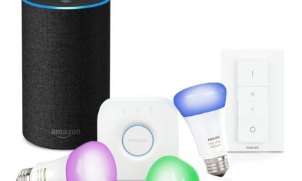 199€ Das neue Amazon Echo (2. Generation), Anthrazit Stoff inkl. Philips Hue White & Colour E27 Starter Set mit Bridge