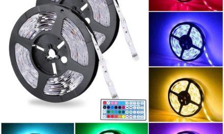 12,79€ LED Streifen 2×5m Badalink Led Stripes IP65 5050 RGB 300 SMDs mit Fernbedienung Lichtband für Weihnachten Party