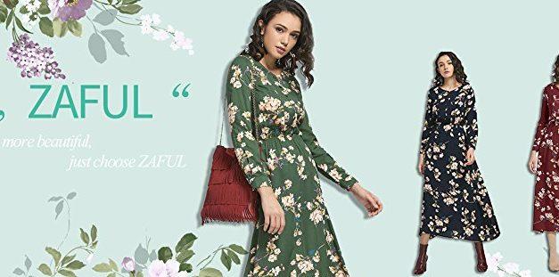 1,99€ ZAFUL Damen Blumen Maxikleid Elegant Langarm Partykleid Herbst Lange Kleider in 3 Farben