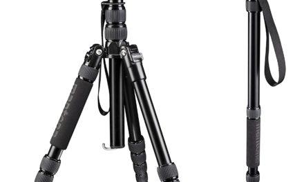 Beendet – 59,90€ Mantona DSLM Travel Reisestativ (max. Höhe 143 cm, max. Belastbarkeit bis 5kg, drehbare Mittelsäule, inkl. Kugelkopf und Stativtasche, geeignet für DSLR, System- und Kompaktkamera) schwarz