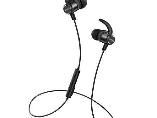 19,99€ Anker SoundBuds Slim+ Bluetooth Kopfhörer Bluetooth 4.1 In Ear Kopfhörer Leichte Stereo Kopfhörer mit aptX High Resolution HD Sound, Personalisierbares Zubehör, IPX5 Wasserfeste Sportkopfhörer mit Metallgehäuse und Mikrofon (Schwarz)