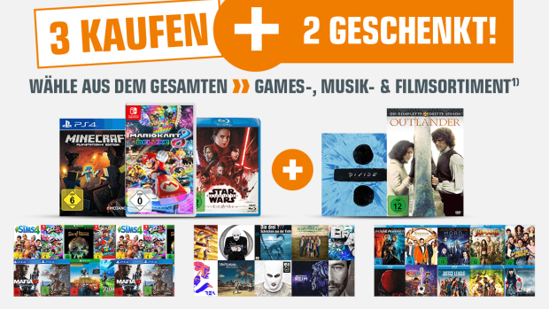 5 für 3: Filme, Musik & Video Games