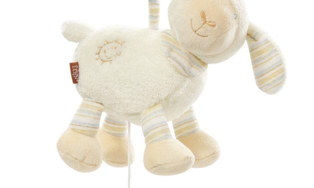 8,34€ Fehn 154658 Spieluhr Schaf / Aufzieh-Spieluhr mit herausnehmbarem Spielwerk zum Aufhängen, Kuscheln und Greifen, für Babys und Kleinkinder ab 0+ Monaten