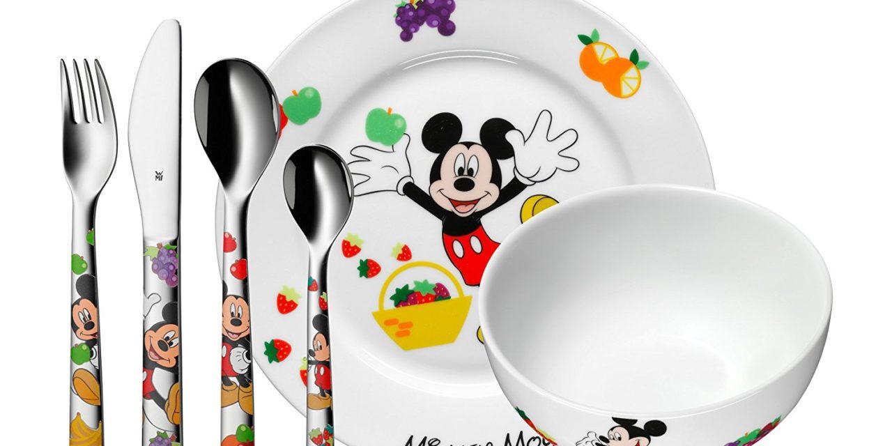 29,80€ WMF Disney Mickey Mouse Kindergeschirr mit Kinderbesteck, 6-teilig, ab 3 Jahren, Cromargan Edelstahl poliert, spülmaschinengeeignet, farb- und lebensmittelecht