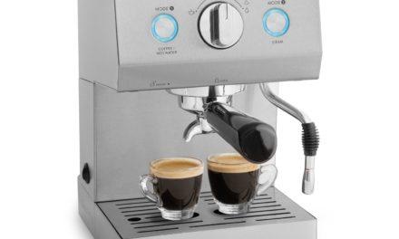 109€ Edelstahl Espressomaschine Emilia (1140 Watt) von Springlane Kitchen leistungsstarke Siebträger-Espressomaschine, Kaffeemaschine inkl. Milchaufschäumer-Funktion und Tamper, 15 bar Pumpendruck!