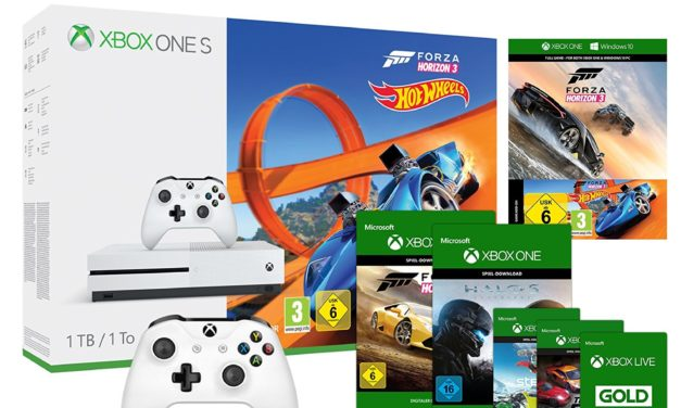 259€ Xbox One S 1TB Konsole + Forza Horizon 3 + Hot Wheels DLC + Wireless Controller Weiß inkl. Steep, Forza Horizon 2 + Halo 5 und The Crew Download-codes + Xbox Live 3 Monats Mitgliedschaft