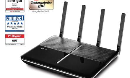 183,99€ TP-Link Archer VR2800v AC2800 WLAN-Telefonie-DSL-Router (V35b/VDSL-/ADSL-Modem, 2167 Mbit/s (5 GHz), 600 Mbit/s (2,4 GHz), kompatibel mit Telekom, 1 und 1, Vodafone, O2, DECT Basis und Mediaserver)