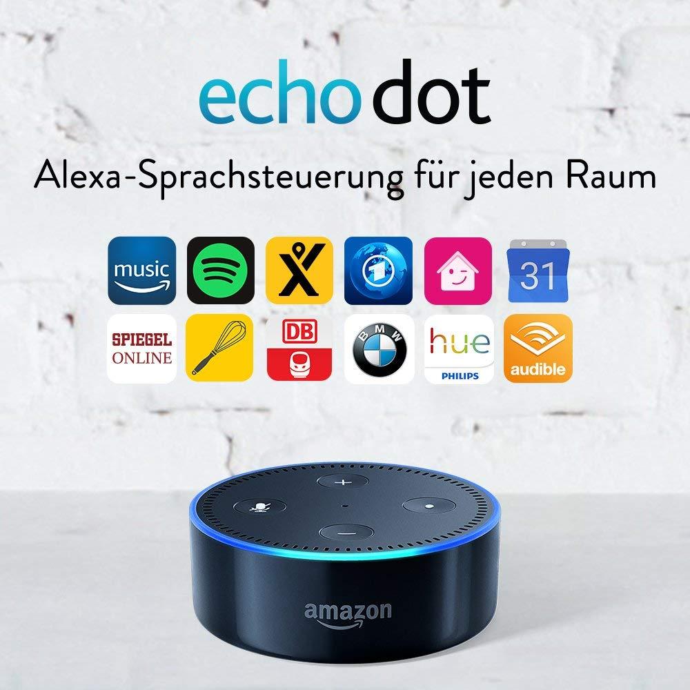 34,99€ Amazon Echo Dot (2. Generation) Intelligenter Lautsprecher mit Alexa, Schwarz oder 2 für 60€