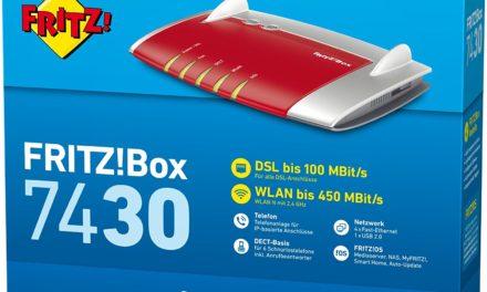 71,99€ AVM FRITZ!Box 7430 (VDSL-/ADSL2+, WLAN N, 450 MBit/s (2,4 GHz), TK-Anlage für Voice over IP mit DECT-Basis, Mediaserver) geeignet für Deutschland