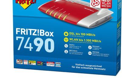157,95€ AVM FRITZ!Box 7490 WLAN AC + N Router (VDSL/ADSL, 1.300 Mbit/s (5 GHz), 450 Mbit/s (2,4 GHz), DECT-Basis, Media Server) geeignet für Deutschland