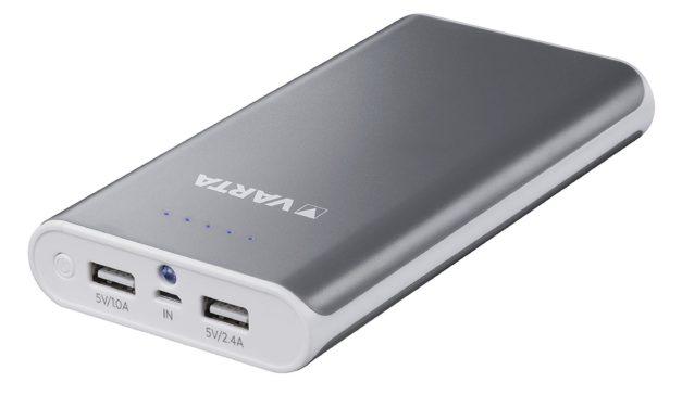 13,79€ Varta Powerbank 16000mAh Portable Powerpack (2 USB Ausgängen, 1,0 A und 2,4 A und LED Leuchtfunktion – Optimal für iPhone, iPad, iPod, Samsung Galaxy und Weitere, inkl. 50cm Micro, USB Kabel)