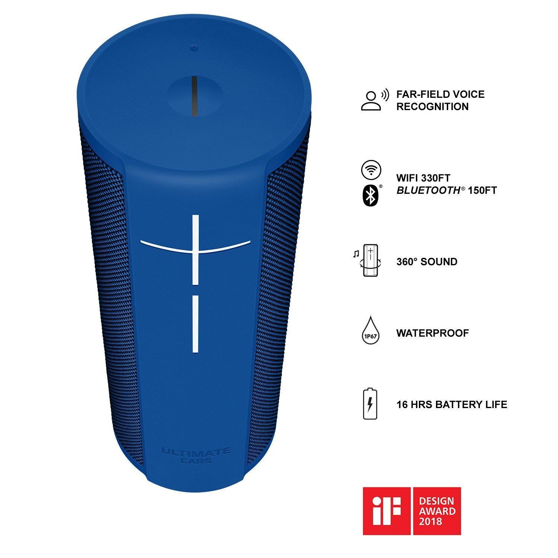 99€ Ultimate Ears MEGABLAST Bluetooth Lautsprecher (Tragbarer WLAN Lautsprecher- mit Amazon Alexa-Sprachsteuerung, wasserdicht) blau
