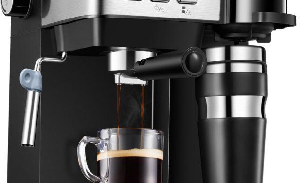 89,99€ Aicook Kaffeemaschine, 3-in-1Espressomaschine Mit Kaffeetasse, 15 bar, 1200 ml abnehmbarer Wassertank, LED-Anzeige, Milchaufschäumer, Wiederverwendbarer Trichter, Schwarz