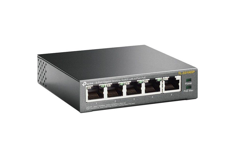 39,99€ TP-Link TL-SG1005P 5-Port Gigabit PoE Switch (5 Anschlüsse mit 10/ 100/ 1000 Mbit/s, 4 davon mit PoE-Unterstützung, Plug-and-Play, Metallgehäuse)