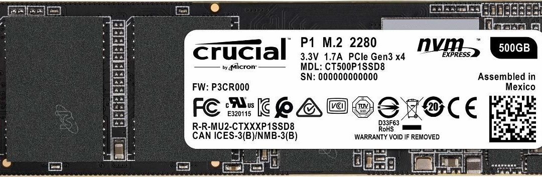 78,20€ Crucial P1 CT500P1SSD8 500GB Internes SSD (3D NAND, NVMe, PCIe, M.2)