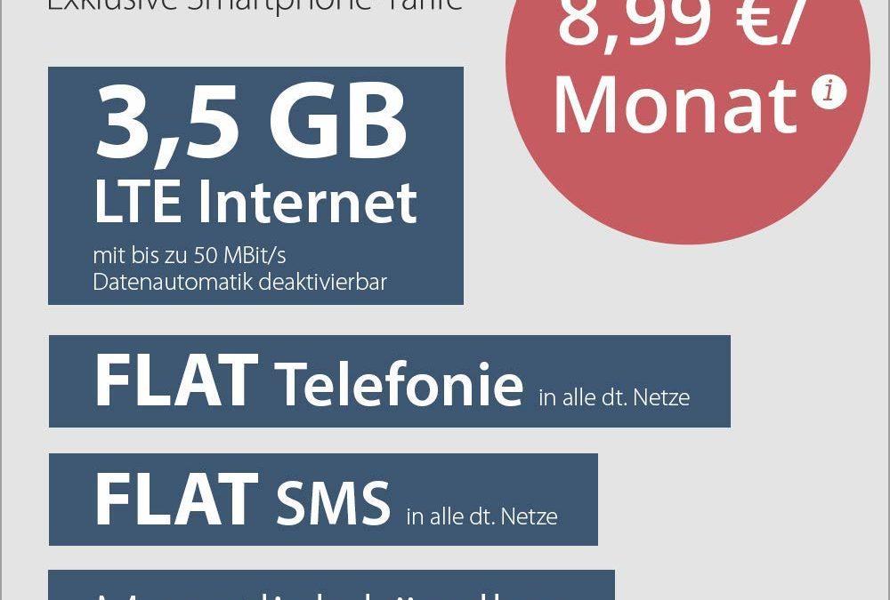 5€ PremiumSIM LTE 3,5 GB – monatlich kündbar (LTE mit 50 MBit/s & deaktivierbarer Datenautomatik, Flat Telefonie & SMS & EU für 8,99€ / Monat)
