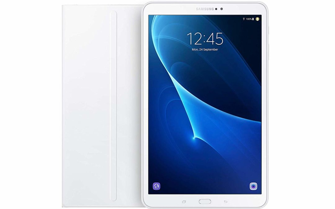 189,99€ Samsung Galaxy Tab A T585 25,54 cm (10,1 Zoll) Tablet-PC (1,6 GHz Octa-Core, 2GB RAM, 32GB eMMC, LTE, Android) weiß + Samsung Bookcover