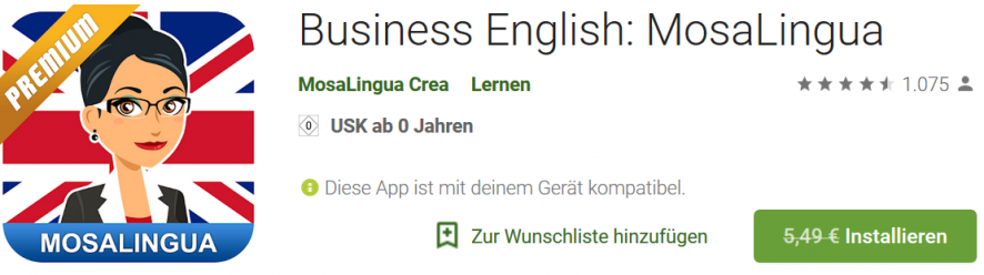 Business English: MosaLingua Premium kostenlos (Android)